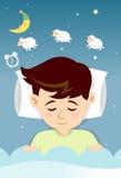 Schlafender Junge mit der Zählung von Schafen Stockfoto