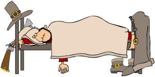 Schlafender Pilgerer lizenzfreie abbildung