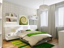 Schlafender Raum mit grünen Akzenten Lizenzfreie Stockfotografie