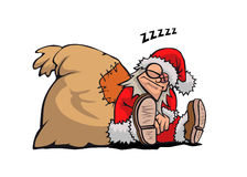 Schlafender Weihnachtsmann Stockfotografie