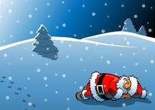 Schlafender Weihnachtsmann Stockfoto