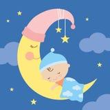 Schlafendes Baby auf dem Mond Stockfotografie
