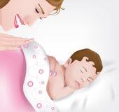 Schlafendes Baby mit Mutter lizenzfreie abbildung
