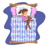 Schlafendes Brunettebaby bedtime Zeichentrickfilm-Figur-Mädchen stock abbildung