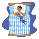 Schlafendes Brunettebaby mit Spielzeughäschen bedtime stock abbildung