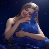Schlafendes Mädchen nachts Stockbild