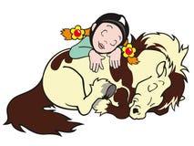 Schlafendes Mädchen und Pony Stockbilder