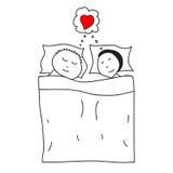 Schlafenpaare im Bett lizenzfreie abbildung