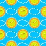 Schlafensonne und -wolken Nahtloses Muster Lizenzfreies Stockfoto