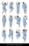 Schlafenstellungen Stockfotos