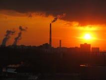 Schlafenviertel Sonnenuntergang Stockbild