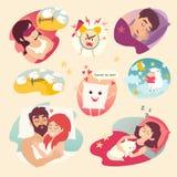 SchlafKonzept des Entwurfes Karikaturwecker, Schlaflosigkeit, Kissen, schlafender Junge und Mädchen Stockbilder