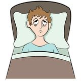 Schlaflosigkeit, die versucht, zu schlafen Mann-Karikatur Lizenzfreie Stockfotos
