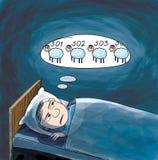 Schlaflosigkeit. Mann, der Schafe zählt Stockfotos