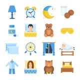 Schlafzeit-Vektorsatz Ikonen in einer flachen Art lizenzfreie abbildung