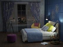 Schlafzimmer in der Nacht mit Lichtern stockbilder