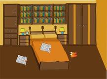 Schlafzimmer in der orange und braunen Farbe für Paare stockfotos