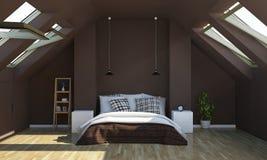 Schlafzimmer in der Schokoladenfarbe auf Dachboden lizenzfreie stockbilder