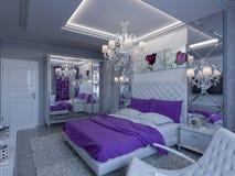 Schlafzimmer der Wiedergabe 3d in den grauen und weißen Tönen mit purpurroten Akzenten Lizenzfreies Stockbild