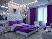 Schlafzimmer der Wiedergabe 3d in den grauen und weißen Tönen mit purpurroten Akzenten Stockfoto