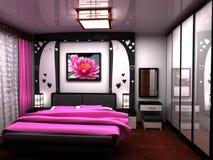 Schlafzimmer. Ein schöner Innenraum eines Raumes. Lizenzfreie Stockbilder