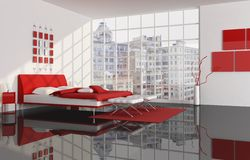 Schlafzimmer einer Stadtwohnung Stockbilder