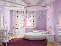 Schlafzimmer für das Mädchen Stockbild