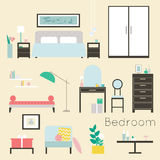 schlafzimmer Möbel und Zubehör Stock Abbildung