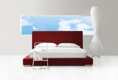 Schlafzimmer mit einer Ansicht Lizenzfreie Stockfotos