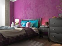 Schlafzimmer mit farbigen Kissen und Decken auf dem Bett Stockbilder