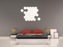 Schlafzimmer mit grauem Wand-Innen des roten Kissens Stockbilder