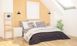 Schlafzimmer mit Plakatmodell auf Dachboden lizenzfreie stockfotos