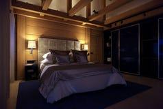 Schlafzimmerhaus der Wiedergabe 3D im Berg Stockbild