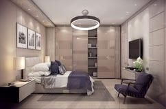 Schlafzimmerhaus der Wiedergabe 3D im Berg Stockbilder