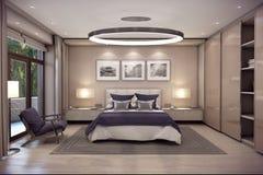 Schlafzimmerhaus der Wiedergabe 3D im Berg Lizenzfreie Stockfotos