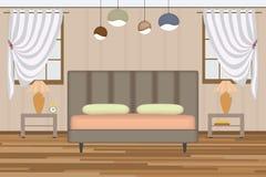 Schlafzimmerillustration Aufzug-Raum mit Bett, Seitentabelle, Lampe, Fenster und Vorhängen Möbel eingestellt für Ihre Innenarchit Stockbilder