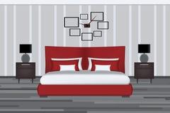Schlafzimmerillustration Aufzug-Raum mit Bett, Seitentabelle und Lampe Möbel eingestellt für Innenarchitektur Yout Lizenzfreies Stockfoto