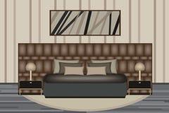 Schlafzimmerillustration Aufzug-Raum mit Luxusbett, Seitentabelle und Lampe Möbel eingestellt für Ihre Innenarchitektur Stockbild
