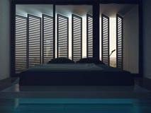 Schlafzimmerinnenraum des dunklen Schwarzen mit erstaunlichem Fenster Lizenzfreie Stockbilder