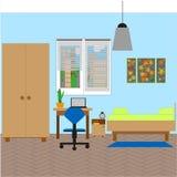 Schlafzimmerinnenraum mit einem Einzelbett Auch im corel abgehobenen Betrag lizenzfreie abbildung