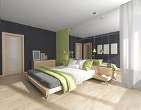Schlafzimmerinnenraum mit Spiegel Stockbild
