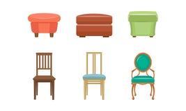 Schlafzimmerpuffe und -stühle stellten, bunte bequeme Möbelvektor Illustration auf einem weißen Hintergrund ein lizenzfreie abbildung