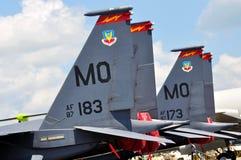 Schlag-Adler U.S.A.F.-F-15E in Singapur Airshow Lizenzfreie Stockbilder