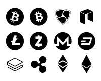 Schlag Bitecoin Litecoin ohne Gegenstimmen Vektor Zcash Monero ohne Gegenstimmen Stratis Ripple Ethereum Neo lokalisierte digital Stockfotografie