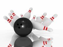 Schlag des Bowlingspiels 3D Lizenzfreie Stockfotografie