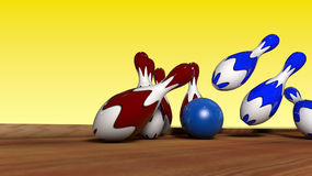 Schlag im Bowlingspiel Lizenzfreies Stockbild