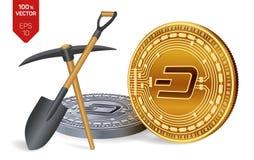 Schlagbergbaukonzept isometrische körperliche Münze des Stückchen 3D mit Hacke und Schaufel Digital-Währung Cryptocurrency golden stock abbildung