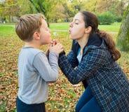 Schlaglöwenzahn der Mutter und des Sohns Lizenzfreie Stockfotos