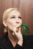 Schlagparteigebläse der Geschäftsfrau stockbilder