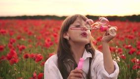 Schlagseifenblasen des kleinen Mädchens auf dem blühenden Gebiet von roten Mohnblumen bei Sonnenuntergang, Zeitlupe stock footage